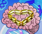 Omega-3 Pills over a brain and DNA